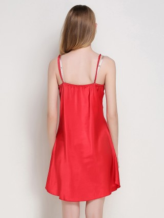 Classy Red Sling Sleepwear Lace Mini Length Classic Fit