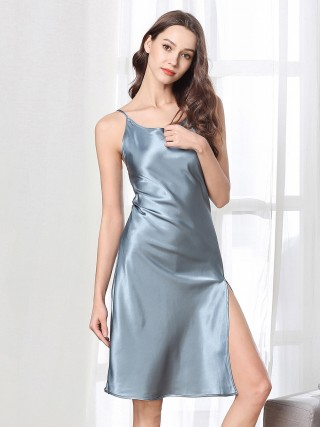 Tempting Gray High Slit Crew Neck Sleepwear High Quality Fabric