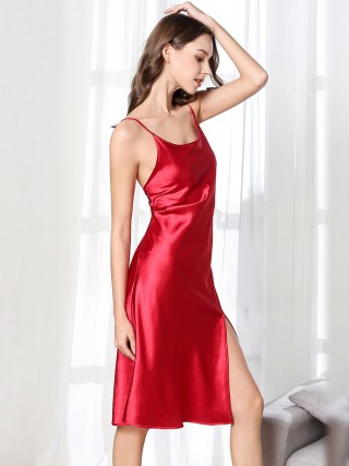 Gothic Red Midi Length Ice Silk Sleepwear Fashion Online For Girls
