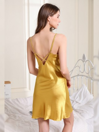 Elaborate Yellow V-Neck Sleepwear Solid Color Strap Close Style