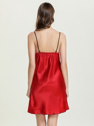 Appealing Red Plunge Collar Sleepwear Slender Strap Slim Fit Allover