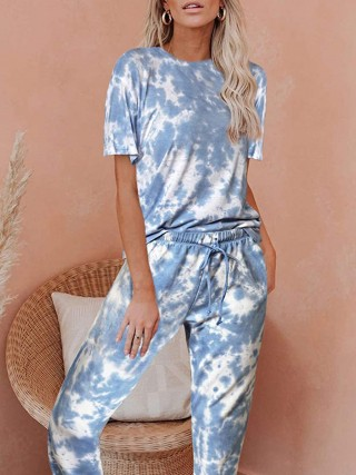 Charming Elastic Waist Pajamas Tie Dye Paint Girl's High Grade
