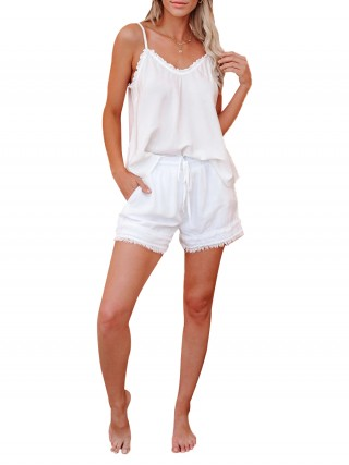 Incredibe White Adjustable Shoulder Straps Pajamas Set Sale Online