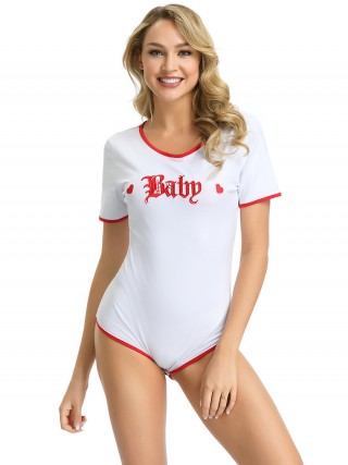 Fitted White Letter Paint Round Collar Teddy Fashion Online Mature Female