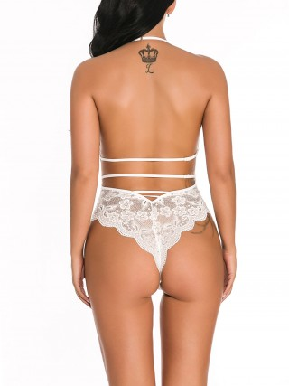 Flirting White Halter Neck Teddy Backless Lace High Quality Fabric