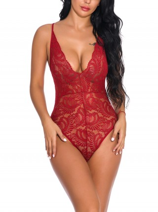 Amorous Wine Red Spaghetti Strap Teddy Sheer Mesh Ultra Hot