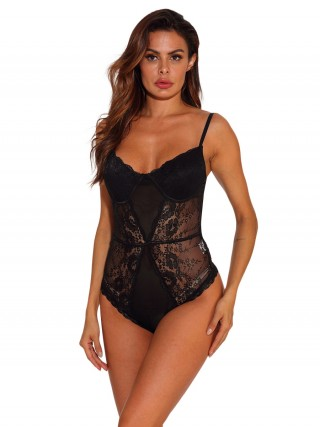 Particularly Black Lace Patchwork Teddy Slender Straps Ideas For Pinterest