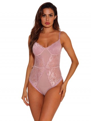 Homely Pink Adjustable Straps Lace Mesh Teddy Perfection