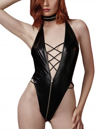Inviting Black Open Back Teddy Zipper Plunge Collar Sale Online