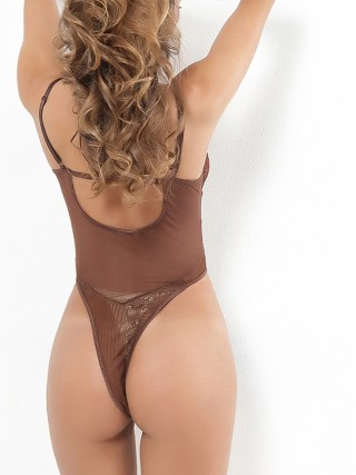 Stunning Coffee Color High Cut Plunge Collar Teddy Dissolute Nightwear