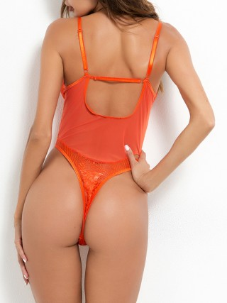 Bare Orange Teddy Open Back Strap High Cut Fashion Decoration