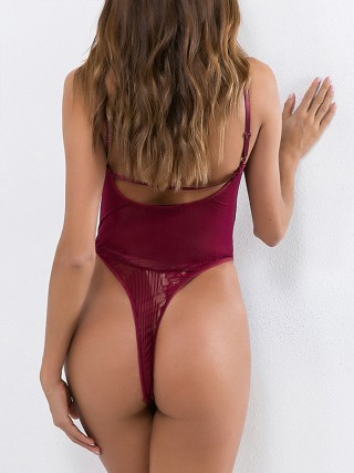 Fantasies Wine Red Bow-Knot Teddy Lace High Cut Romantic Time