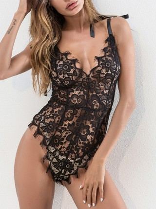 Frivolous Black Lace Teddy High Cut Strap Zipper Slimming All Over