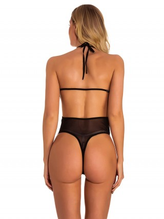 Ravishing Black Halter Neck Teddies Open Back Mesh For Midnight