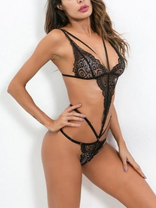 Shimmery Black Lace Teddy Hollow Out Plunge Collar Slim Fitting