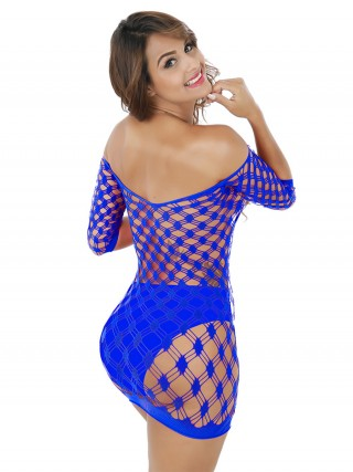 Eye-Appealing Blue Plaid Pattern Teddy Solid Color Romantic Nightwear
