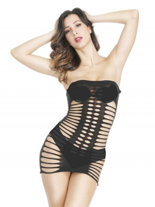 Intriguing Black Bandeau Teddy Hollow Out Mini Length Standard Fit