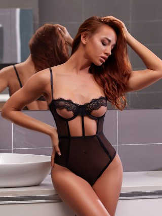Flirty Black Hollow Out Teddy Lace Mesh Splicing Slim Fit