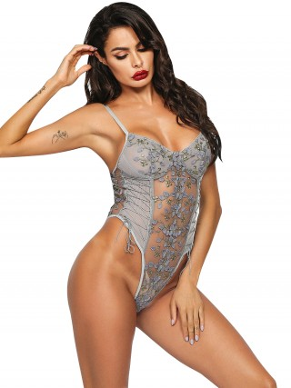 Cheap Gray Side Lace-Up Teddy Lingerie Backless For Upscale