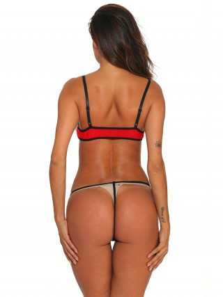 Passionate Red Open Back Bow-Knot Strap Bralette Exotic Cutie