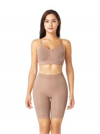 Nude Seamless Shaper Bra Adjusatble Straps High Waist Shorts