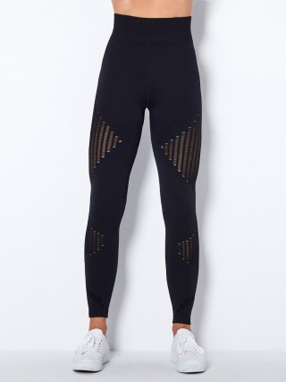 Black Seamless Knit Legging Stripes High Waist For Women
