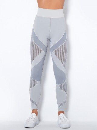 Light Gray Seamless High Waist Yoga Legging Knit Stripes Breathable