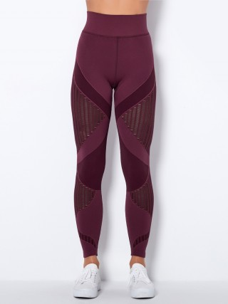 Wine Red Seamless Knit Stripes Yoga Legging High Waist Workout