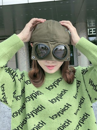 Super High Army Green Anti-Saliva Glasses Safety Baseball Cap