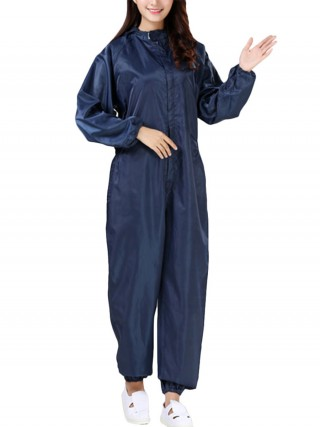 Purplish Blue Antistatic Jumpsuit Ankle Length Outdoor Protection Stretchy