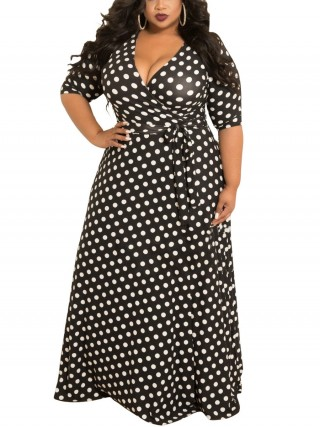 Simply Chic Tie Queen Size Maxi Dress Polka Dot Elasticity