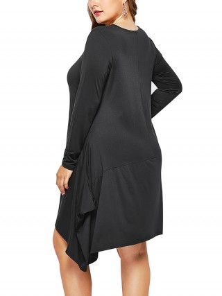 Exclusive Black Midi Dress With Pockets Plus Size Natural Outfit