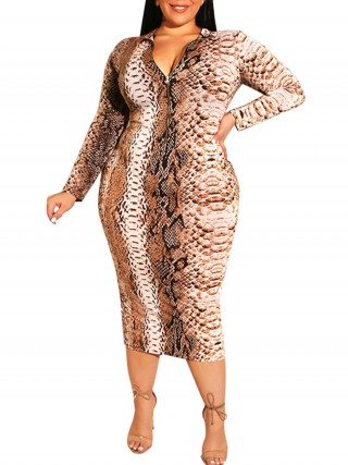Vacation Plus Size Bodycon Dress Snake Pattern Form Fitting