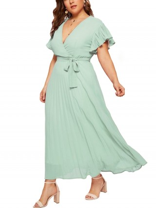 Supper Fashion Light Green Ruffle Large Size Dress Knot Ruched