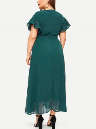 Feisty Blackish Green Queen Size V Neck Tie Maxi Dress Classic