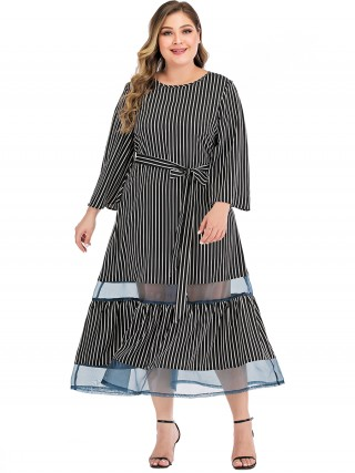 Eye Catcher Black Stripe Print Queen Size Dress Sheer Mesh High Quality