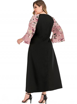 Fashion Black Flower Pattern Plus Size Dress Crew Neck Women's Clothing