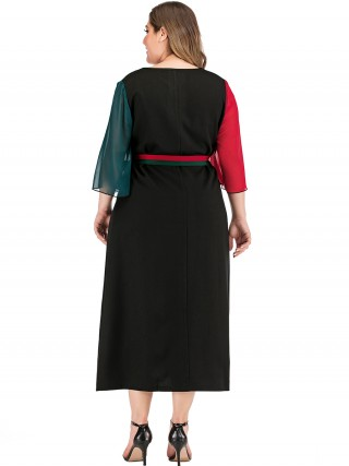 Mystic Black 3/4 Sleeve Tie Large Size Dress For Street Snap