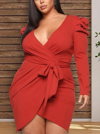 Refreshing Red Deep-V Collar Ruched Mini Dress Plus Size Women Outfit