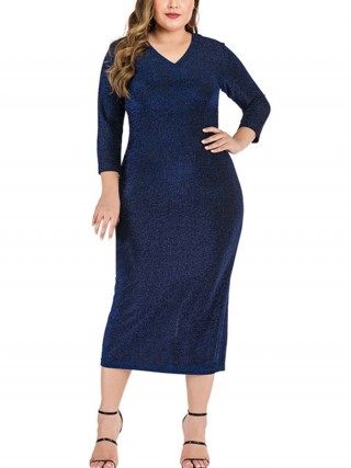 Splicing Purplish Blue Back Slit Large Size Dress V Collar Clothing