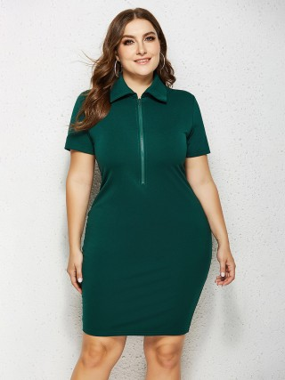 Natural Green Big Size Dress Solid Color Short Sleeve Comfort Fit