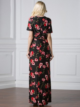 Striking Black Deep-V Big Size Dress Floral Print Leisure Time