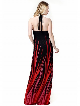 Brightly Black Halter Neck Maxi Dress Backless Big Size