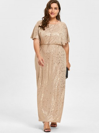 Amazing Apricot Plus Size Dress Cape Sleeve Hot Sliver Weekend