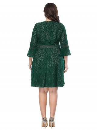 Holiday Green Lace Plus Size Dress Zip At Back Female Grace