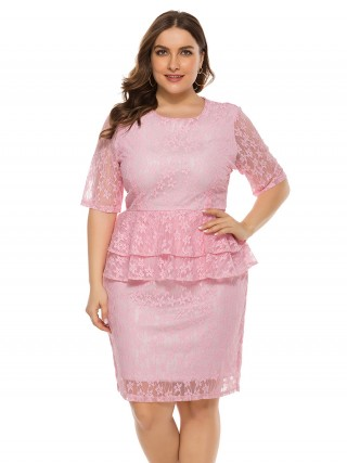 Inviting Pink Half Sleeve Plus Size Dress Lace Natural Women