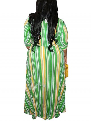 Dreamy Green Stripe Print Plus Size Shirt Dress Button Breath