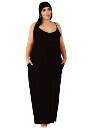 Homelike Black Solid Color Plus Size Maxi Dress Chic Online