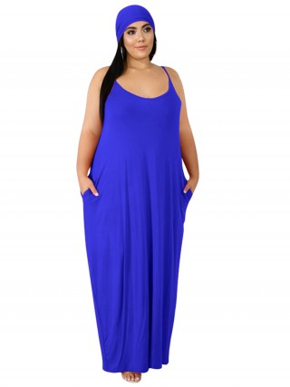 Royal Blue Big Size Maxi Dress Solid Color Natural Women Fashion
