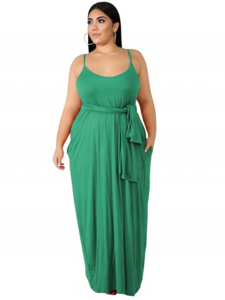 Unique Grass Green Full Length Sling Large Size Dress Weekend Time